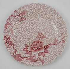 Here is a pretty little plate by Johnson Brothers in an all over sheet pattern called Lotus. It has a Chinoiserie Chintz look with multiple florals and branche China Patterns, Flower Patterns, Red Plates, Plates And Bowls, Vintage Dinnerware, China Painting, Antique Roses, Vintage China, Colour Schemes