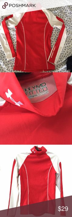 """Under Armour Coldgear top Approximately 22"""" long, 28"""" pit-to-pit laying flat. Guessing youth M/L, also listed as women's XS. Only one Under Armour Shirts & Tops Tees - Long Sleeve"""
