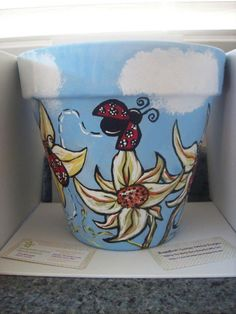 Hand Painted Flower Pots by BuggyBeanDesigns on Etsy, $20.00