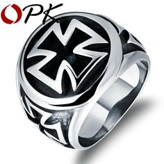 Cross Design Man Cocktail Ring Punk Style Stainless Steel Men's Finger Jewelry Gift Personality Charm Accessories GJ471
