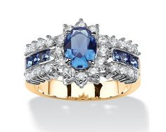 chicmarket.com - .82 TCW Oval-Cut Sapphire Blue Crystal and White Cubic Zirconia Two-Tone Halo Ring MADE WITH ELEMENTS 14k Gold-Plated - 9
