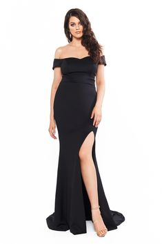 A&N Curve Belle Ponti Off-Shoulder Gown with Slit - Black Curve Prom Dresses, Formal Dresses, Gown With Slit, Off Shoulder Gown, Plus Size Dresses, Cute Outfits, Gowns, Style Inspiration, Clothes