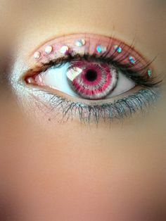 Cotton candy eye make up..please tell me how to make my eyes that color and put jewels on it..:P