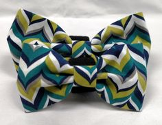 Blue and Green Herringbone Bow Tie  Collar accessory by HalasPaws