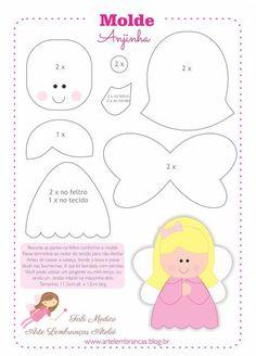 little angel pattern Felt Patterns, Applique Patterns, Stuffed Toys Patterns, Craft Patterns, Felt Christmas Decorations, Felt Christmas Ornaments, Christmas Crafts, Christmas Fairy, Felt Diy