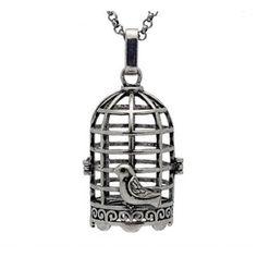 Bird Cage Pearl Pendant Cage & Chain