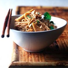Thai Noodles - This vegetarian noodle dinner can be made with soy nut or peanut butter.