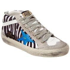 Golden Goose Golden Goose Women's Mid Star Haircalf Sneaker... ($510) ❤ liked on Polyvore featuring shoes, sneakers, black, pony hair sneakers, zebra sneakers, black sneakers, zebra print sneakers and golden goose sneakers