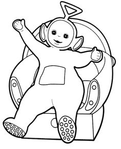 Teletubbies Tinky Winky Sitting Relax Coloring For Kids