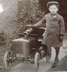 Vintage Photo of Boy with Pedal Car