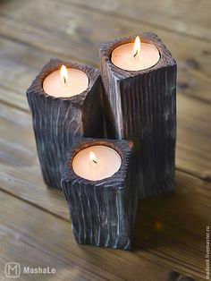 Woodworking Inspiration, Woodworking Projects Diy, Diy Wood Projects, Wood Crafts, Tea Candle Holders, Modern Candle Holders, Tea Light Holder, Driftwood Lamp, Wood Lamps