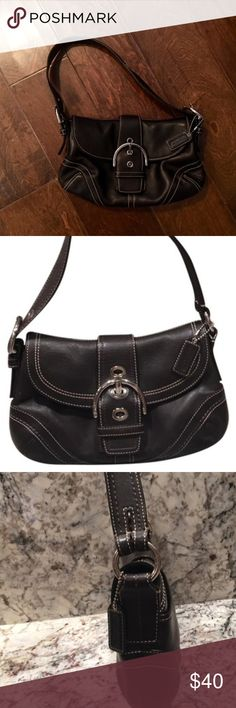 "Medium Black Coach Buckle Purse Medium Black Coach Purse - 10"" wide, 6"" high. Lightly used, cute day purse. Coach Bags Shoulder Bags"