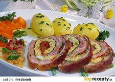 Barevná bůčková roláda recept - TopRecepty.cz Bucky, Baked Potato, Potatoes, Eggs, Baking, Breakfast, Ethnic Recipes, Food, Repurpose
