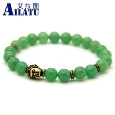 Natural Green Aventurine Stone Beads Antique Bronze Buddha Classic Yoga Bracelets