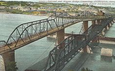 Dubuque, Iowa, Wagon Bridge, Mississippi River...