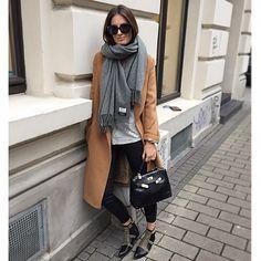converse, white shirt, black pants, big scarf, big sweater/jacket