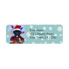 Black Labrador Retriever Christmas Return Address Label by Naomi Ochiai