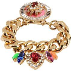 Shourouk Bracelet (1.166.325 COP) ❤ liked on Polyvore featuring jewelry, bracelets, gold, bracelet jewelry, rhinestone bangles, rhinestone bracelet, rhinestone jewelry and shourouk jewelry