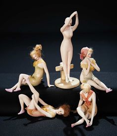 Collection of Diminutive German All-Bisque Bathing Beauties. http://Theriaults.com
