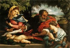 The Holy Family with St. CaTherine of Alexandria 1533 by Lorenzo Lotto Art Print on Canvas Magnolia Box Size: Extra Large Framed Art Prints, Painting Prints, Canvas Prints, St Catherine Of Alexandria, Watercolor On Wood, Italian Painters, John The Baptist, Holy Family, Leonid Afremov Paintings