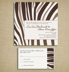 Having a Safari Themed Wedding, get them started with this Zebra inspired invites: Le Zèbre