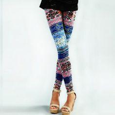 women's retro colorful aztec print legging stretchy tights pants leggings $8.69