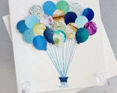 Buy it or DIY it with scrap paper! Handmade 'Balloons' Card Happy Birthday Card by CardsbyGaynor on Etsy Baby Cards, Kids Cards, Homemade Cards, Homemade Gifts, Recycled Magazines, Diy Notebook, Pop Up Cards, Birthday Balloons, Happy Birthday Cards