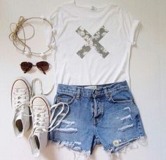white chucks, cut off shorts and cute tshirt. simple summer outfit for girls.