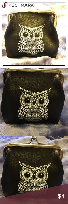 """Coin purse 👛 Cute black coin purse with owl design.  4""""L 4""""W.  New never used! 👛 $4 final price. Bags Clutches & Wristlets"""