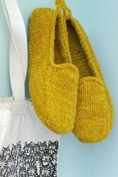 Pantuflas tejidas a dos agujas.