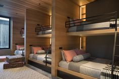 Bunk Bed Ideas - This modern and large bedroom has been designed with custom bunk beds, allowing the room to sleep at least six people, if not more. Bunk Beds For Girls Room, Bunk Bed Rooms, Bunk Beds With Stairs, Bunk Bed Wall, Girls Bedroom, Master Bedroom, Custom Bunk Beds, Modern Bunk Beds, Contemporary Bunk Beds