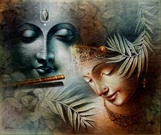 Artist Amit Bhar (Indian Artist) - Art And Beauty Buddha Painting, Krishna Painting, Buddha Art, Arte Krishna, Radha Krishna Love, Lord Krishna Wallpapers, Radha Krishna Wallpaper, Radha Krishna Pictures, Indian Art Paintings