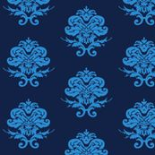 Blue and Navy Damask  by littleliteraryclassics, Spoonflower digitally printed wallpaper