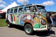 painted Hippie VW Bus ☮ pinned by https://www.soundroyalties.com/