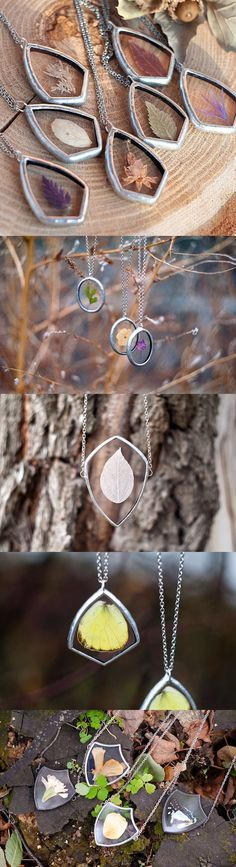 Jewelry designer Stanislava Korobkova encases the delicate beauty of nature in vintage-style pendants. jewelry | nature jewelry | nature-inspired jewelry | pendant | leaf necklace | Mother's Day gift ideas