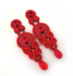 Christmas gift for her Long Red earrings soutache by sutaszula