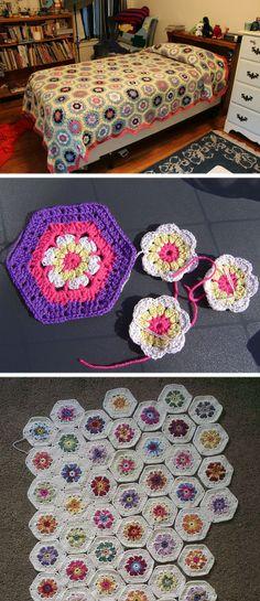 Flower to Hexagon blanket, free pattern by Jessie Rayot  #crochet #afghan #throw
