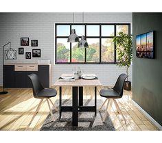 Buffet 4 portes/2 tiroirs TOLEDO décor chêne sonoma/gris - Buffet BUT Table Haute, Piece A Vivre, San Francisco, Design Moderne, Office Desk, Corner Desk, Conference Room, Decoration, Gray