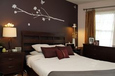 Any dark colored wall with light/white words or vice versa. In this case a purple bedroom with white.