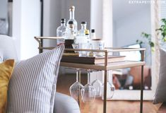 Add under-cabinet rack to #Target bar cart to save space (also available for mugs) #barcart