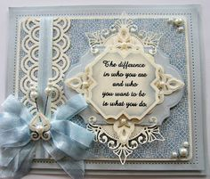 Pretty in blue and cream card.  Spellbinders Venetian Motifs, Martha Steward Double Arches Punch +