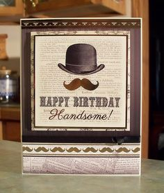 Vintage Style Masculine Birthday Card For Men by WhimsyArtCards