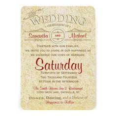 Old Ivory Lace Wedding Invitation