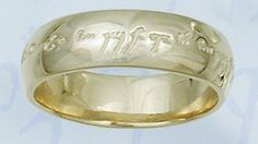 "Elvish Love Ring 9ct Gold - This unique Elvish Love Ring draws its inspiration from the world of J.R.R Tolkien's Middle Earth. Beautifully enscribed on the outside in Elvish runes, it bears a message of love that lasts forever. The ring has been designed as a wedding band for couples as the wording (in Elvish) translates as follows. ""One ring to show our love, One ring to bind us One ring to seal our love and forever to entwine us""."