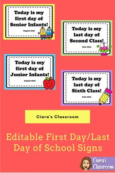 Create beautiful Back to School keepsakes with these first day of school signs.  Simply print and use the sign in your first day of school photographs.  This product also includes last day of school signs which would be perfect for showing just how much your students have grown since the first day of the year.  The signs come as a Powerpoint so you can edit the date and use them again year after year! School Today, Last Day Of School, Back To School, My Last Day, One Day, School Signs, Days Of The Year, Keepsakes, Primary School