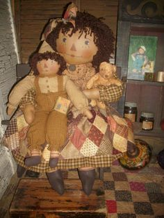 Primitive Handmade Raggedy Ann and Andy Set Antique Quilt By April Cummins OOAK