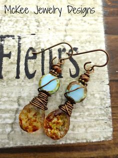 Blue and Brown. Czech Picasso glass and bronze metal earrings.