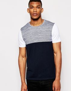 ASOS Cotton Knitted T-Shirt with Blocked Sleeve
