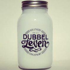 Dubbelleven krijtverf/chalkpaint Glass jar 1000ml color Blanco
