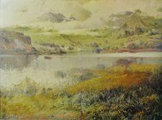 Eliseo Meifrén Roig. Día gris en el lago. Óleo sobre lienzo. Firmado. 65 x 75 cm. Ausa, p. 188-9.